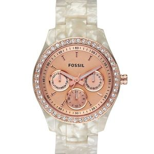 Stella Pearlized White Resin Fossil Watch